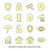 Satz Schutz Gelbikonen ENV 10, Vektor-Illustration Stockfotografie
