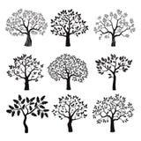 Satz schwarze Bäume Lizenzfreies Stockbild
