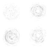 Satz schwarze chaotische Kreise auf dem weißen Hintergrund Stockbilder