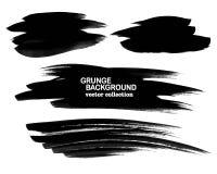 Satz schwarze Farbe, Tintenbürstenanschläge, Bürsten, Linien Schmutzige künstlerische Gestaltungselemente, Kästen, Rahmen Stockfoto