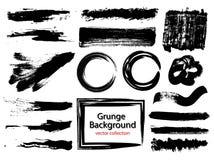 Satz schwarze Farbe, Tintenbürstenanschläge, Bürsten, Linien Schmutzige künstlerische Gestaltungselemente, Kästen, Rahmen für Tex Lizenzfreie Stockbilder