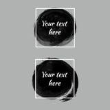 Satz schwarze Farbentinten-Bürstenkreise Künstlerische Fahnen des Schmutzes lizenzfreie abbildung
