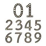 Satz schwarze Glühlampe-Zahlen Broadways Lizenzfreie Stockfotografie
