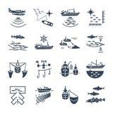 Satz schwarze Ikonen, die Prozess fischen lizenzfreie abbildung
