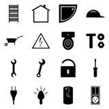 Satz schwarze Ikonen flach Ein Satz des Vektors unterzeichnet Baukonzept Reparieren Sie Sammlung stock abbildung