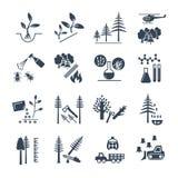 Satz schwarze Ikonen Forstwirtschaft und Waldbauproduktion vektor abbildung