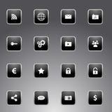 Satz schwarze Ikonen mit silbernem Entwurf Stockbild