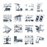 Satz schwarze Ikonen Verkehrsinfrastruktur, Straße, Luft stock abbildung