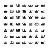 Satz schwarze Kronen und Ikonen Stockfotografie
