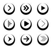 Satz schwarze Pfeil-Ikonen in den Kreisen Stockfotografie