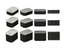 Satz schwarze RechteckBlechdosen in den verschiedenen Größen, Beschneidungspfad Lizenzfreie Stockfotografie