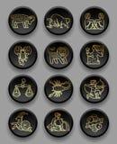 Satz schwarze runde Ikonen mit Goldlinearen zodiacal Zeichen vektor abbildung