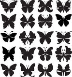 Satz schwarze Schattenbilder der Schmetterlinge Vielzahl von stilisierten Formen Stockfoto