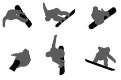 Satz schwarze Schattenbilder von springenden Snowboardern Stockfotografie