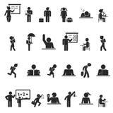 Satz schwarze Schulkind-Schattenbildikonen Stockfotos