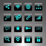 Satz schwarze und cyan-blaue Ikonen - Technologie, Geschäft und Netz Lizenzfreie Stockfotografie