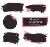 Satz schwarze und rosa Farbe, Tintenbürstenanschläge, Bürsten, Linien Schmutzige künstlerische Gestaltungselemente, Kästen, Rahme Lizenzfreies Stockfoto