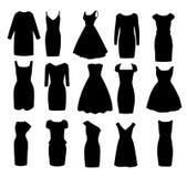 Satz schwarze verschiedene Formen von Abendballkleidern Lizenzfreie Stockfotografie