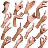 Satz schwarze weibliche Hände, die Symbole zeigen stockbilder