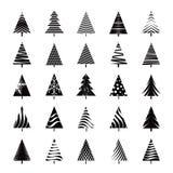 Satz schwarze Weihnachtsbäume Lizenzfreie Stockfotos