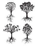 Satz schwarzer Baum und Wurzeln Lizenzfreie Stockfotografie