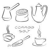 Satz schwarzer Kaffee-Elemente für Ihr Design vektor abbildung