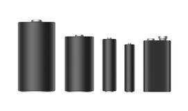 Satz schwarzer Matt Alkaline Batteries Of Diffrent-Größe AAA, AA, C, D, PP3 für einbrennenden Abschluss oben Stockbild