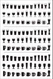 Satz schwarzes Ikonenbierglas Bierglas- und -becherschattenbilder Auch im corel abgehobenen Betrag Lizenzfreies Stockbild