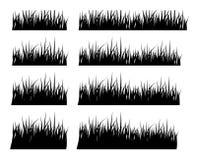 Satz schwarzes Schattenbildgras in der verschiedenen Höhe Lizenzfreies Stockbild