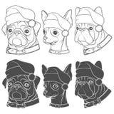 Satz Schwarzweißabbildungen von netten Hunden in den Weihnachtshüten Lizenzfreie Stockfotografie