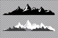 Satz Schwarzweiss-Gebirgsschattenbilder Hintergrundgrenze von felsigen Bergen Auch im corel abgehobenen Betrag Stockfotografie