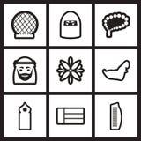 Satz Schwarzweiss-Ikonen Araber-Emirate Lizenzfreie Stockfotos