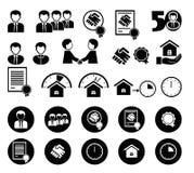 Satz Schwarzweiss-Ikonen für Informationgraphik Lizenzfreies Stockbild
