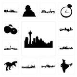 Satz Seattle-Skyline auf weißem Hintergrund, Indien-Karte, Kansas- Cityskyline, nyc t rex, Apfelikonen Las Vegas Cincinnati Stockfotografie