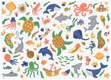 Satz Seetiere Getrennt auf weißem Hintergrund Nette kindische Illustrationen Vektorleere glatte Kennsätze lizenzfreie stockfotografie