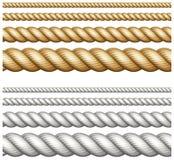 Satz Seile auf Weiß Stockbilder