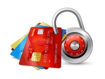 Satz sichere Kreditkarten mit Chips Stockfotografie