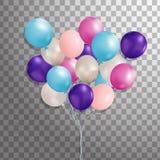 Satz Silber, Blau, grüner Heliumballon in der Luft Bereifte Parteiballone für Ereignisdesign Parteidekorationen für bir Stockfotos