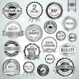 Satz silberne Luxusabzeichen und Aufkleber Lizenzfreie Stockbilder