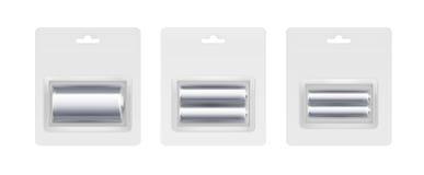 Satz silberner metallischer alkalischer AA, c-Batterien Stockbild