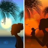 Satz silhouetts des Mädchens Lizenzfreie Stockfotografie