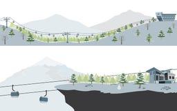 Satz Ski Resort und Schnee-Berglandschaft Lizenzfreies Stockfoto