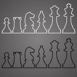 Satz Skizzen-Schach-Zahlen Lizenzfreie Stockfotos
