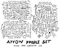 Satz Skizzenlinie ep Gekritzel der Baumillustration der Hand gezeichneten Lizenzfreie Stockfotos