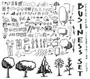 Satz Skizzenlinie ep Gekritzel der Baumillustration der Hand gezeichneten Lizenzfreie Stockbilder
