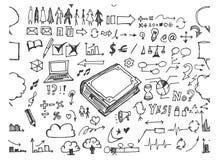 Satz Skizzenlinie ep Gekritzel der Baumillustration der Hand gezeichneten Stockbilder