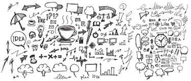 Satz Skizzenlinie ep Gekritzel der Baumillustration der Hand gezeichneten Lizenzfreies Stockfoto
