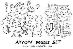 Satz Skizzenlinie ep Gekritzel der Baumillustration der Hand gezeichneten Stockfoto
