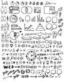 Satz Skizzenlinie ep Gekritzel der Baumillustration der Hand gezeichneten Stockfotos