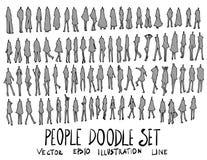 Satz Skizzenlinie Gekritzel der Leuteillustration der Hand gezeichneten Lizenzfreie Stockfotos